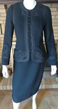Charles Chang Lima Black Wool Blend Sheath Dress With Jacket Size 10