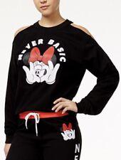 Disney Minnie Mouse Cold Shoulder Sweatshirt Fleece Sweater Logo Black S