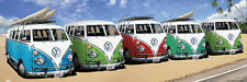 Huge Wall-Sized SURFING CARAVAN Volkswagen VW Buses California Beach POSTER