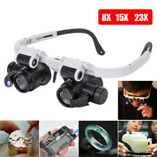 Magnifying Glass Lens Jewelry Magnifier Binocular Loupe With 2 LED Light Lamp B