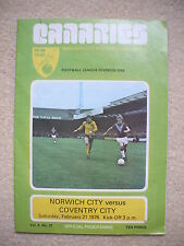 Norwich City v Coventry City Football Programme 1975/1976