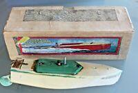 JOUET TÔLE ancien HORNBY Bateau RACER 1 speed boat Boite d'origine Années 30