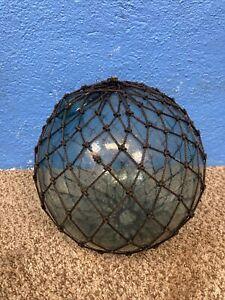 "Vintage Large 10"" Japanese Aqua Blue Glass Netted Fishing Float"