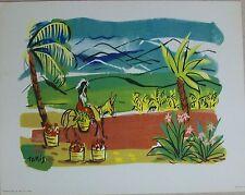 Nicholas Takis Art Print South American Woman on Donkey Flowers Trees Mountains