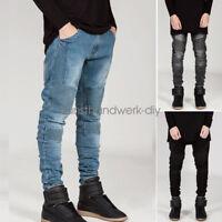 Men Straight Slim Fit Biker Jeans Pencil Pants Skinny Denim Trousers Plus Size