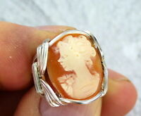 VINTAGE SHELL CAMEO RING IN  STERLING SILVER SETTING SIZE 5 TO 15 WIRE WRAPPED