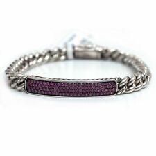 """New DAVID YURMAN Full Pave ID Silver Curb Bracelet in Pink Sapphire Medium 6.75"""""""