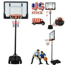 Basketball Hoop System Stand Youth Sport w/ Wheels Pvc Backboard Portable 7Ft
