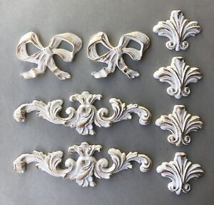 Set of Eight decorative mouldings furniture embellishments Appliques painted