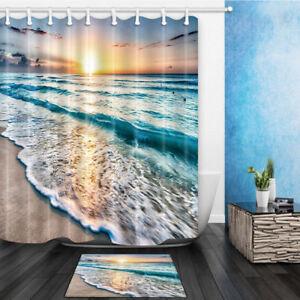 Beach Sea Sunset Fabric Shower Curtain Bathroom Waterproof & 12 Hooks 71*71 Inch