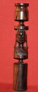 Vintage Hand Carving Wood Female Bust Candlestick Candle Holder