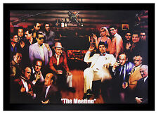 Mafia Scarface Godfather The Meeting 24x36 Framed Poster (E3-1104)