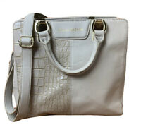 STEVE MADDEN Vegan Leather Handbag Satchel Tote Cream Gray Gold Textured Accent