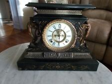 "Antique ""Rosaland"" Ansonia Open Escapement Clock Iron Mantel Clock with Cupids"