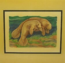 """Vintage PAUL BRENT Signed Print CRYSTALLINE TILE 7.75"""" MANATEE Mother And Baby"""