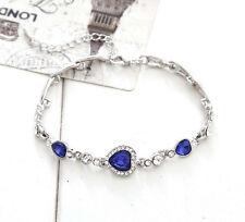 Elegant Women Lady Ocean Blue Crystal Rhinestone Heart Bangle Bracelet Gift 1 PC