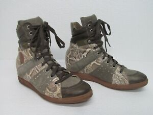 Pataugas Leather Snakeskin Hidden Wedge Ankle Bootie Lace Up Size Women's 8/39