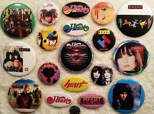 Heart PIN BUTTON LOT Nancy Ann Wilson Band 18 Album DISCOGRAPHY Rare