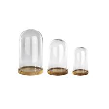Nkuku Inu Decorative Glass Dome Bell Jar Wood Base Small 23cm Tall