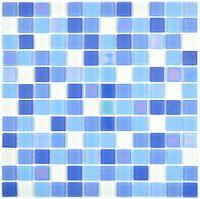 Küchenfliese fluoreszierendes Glasmosaik blau weiß 88-1006_f | 10 Mosaikmatten