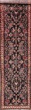 Vintage Black 13 ft LONG Floral Runner Lilian Hamadan Stair Rug 3' x 13'