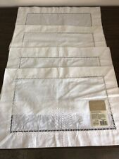 """Home Trends LINEN HEMSTITCH PLACEMATS , SET OF 4  IVORY, NEW 181/2 x 13"""""""