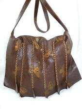 CARLOS FALCHI USED BROWN LEATHER BUTTERFLIES FLAP WHIPSTITCH SHOULDER BAG RARE