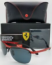 NEW Rayban sunglasses RB4302M F62387 62mm Ferrari Red Dark Grey Mirror GENUINE