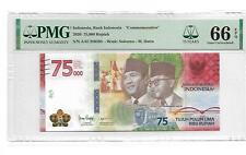 """2020 Indonesia Bank Indonesia """"Comm"""" 75000 Rupiah Pick#unl PMG 66 EPQ Gem UNC"""
