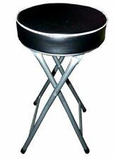 BLACK ROUND FOLDING STOOL SEAT SOFT PADDED FOLDABLE CHAIR KITCHEN STOOLS