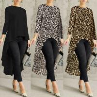 Women Ladies Long Sleeve Asymmetrical Waterfall Shirt Tops High Low Plus Blouse