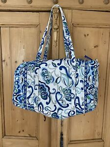 Vera Bradley Mosaic Duffel Large Blue White Mediterranean Green Gray Floral