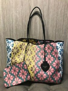Auth. NEW Kate Spade Everything Spade Flower Raffia Large Tote Bag & Pouch