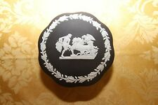Vintage Wedgwood Black Jasper Ware Large Ulysses Scallop Covered Trinket Box