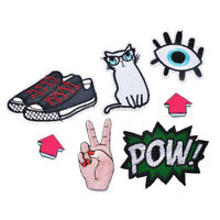 7Pcs Craft Iron on Embroidery Patches Shoes Cat Badge Applique Motif Craft Decor