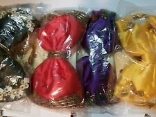 4 Ladies or Childrens Hair Bows, Black, Hot Pink, Yellow and Purple, Beaded