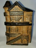 """Vintage Stoneware Pottery Row Victorian HOUSE WALL POCKET Brown Clay 4.5"""" x 7"""""""