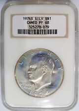 1974 S Eisenhower (IKE) NGC PF 68 CAMEO 40% SILVER Dollar Blue Toning Halo Coin