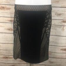 Tripp NYC Women's Size Medium Pencil Skirt Black Velvet Floral Lace Steampunk