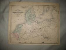 ANTIQUE 1870 PRUSSIA DENMARK HOLLAND BELGIUM HANDCOLORED MAP MOUNTAIN PRINT FINE