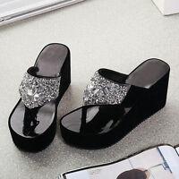 Wedge Platform Sequins Summer Sandals Womens Flip Flops Slippers Shoes Beach
