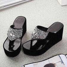 Womens Flip Flops Slippers Shoes Beach Wedge Platform Sequins Summer Sandals Pro
