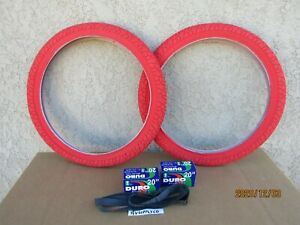 [2] 20'' X 1.95 ALL RED BICYCLE  TIRES, TUBES & LINERS.FOR BMX, GT, DINO, ETC.