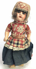 "Antique Sleep Eyes Doll All Original 6.5"" Made In Germany Wooden Shoes"