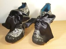 New Irregular Choice ABIGAILS PARTY Leather Brocade Court Black And Silver 36/3