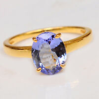 1.60 Carat Natural Blue Tanzanite Oval Shape 14KT Yellow Gold Solitaire Ring