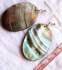 EARRINGS Black Shimmer MOP Shell Oval Drop Dangle 925 Sterling Silver Hooks