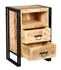 100% Reclaimed Wood 2 Drawer Side Table/Chest Bristol Mango Wood & Metal Range