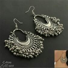 Afghani single layer silver earrings boho vintage style navratri special