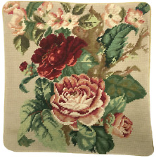 Needlepoint Pillow | Handmade Wool Dark Red and Pink Cabbage Roses Cushion 14x14